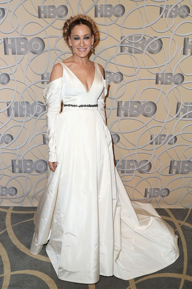 White wedding dress-obsessed Sarah Jessica Parker wore this gown from Vera Wang's Fall 2017 bridal line to the Golden Globes in January. (Photo: Getty Images)