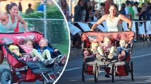 Marathon mum smashes world record with triple pram in tow