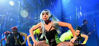 Lady Gaga takes a tumble off stage with fan