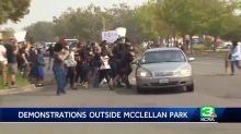 Protesters hit by cars outside McClellan Park during Trump visit