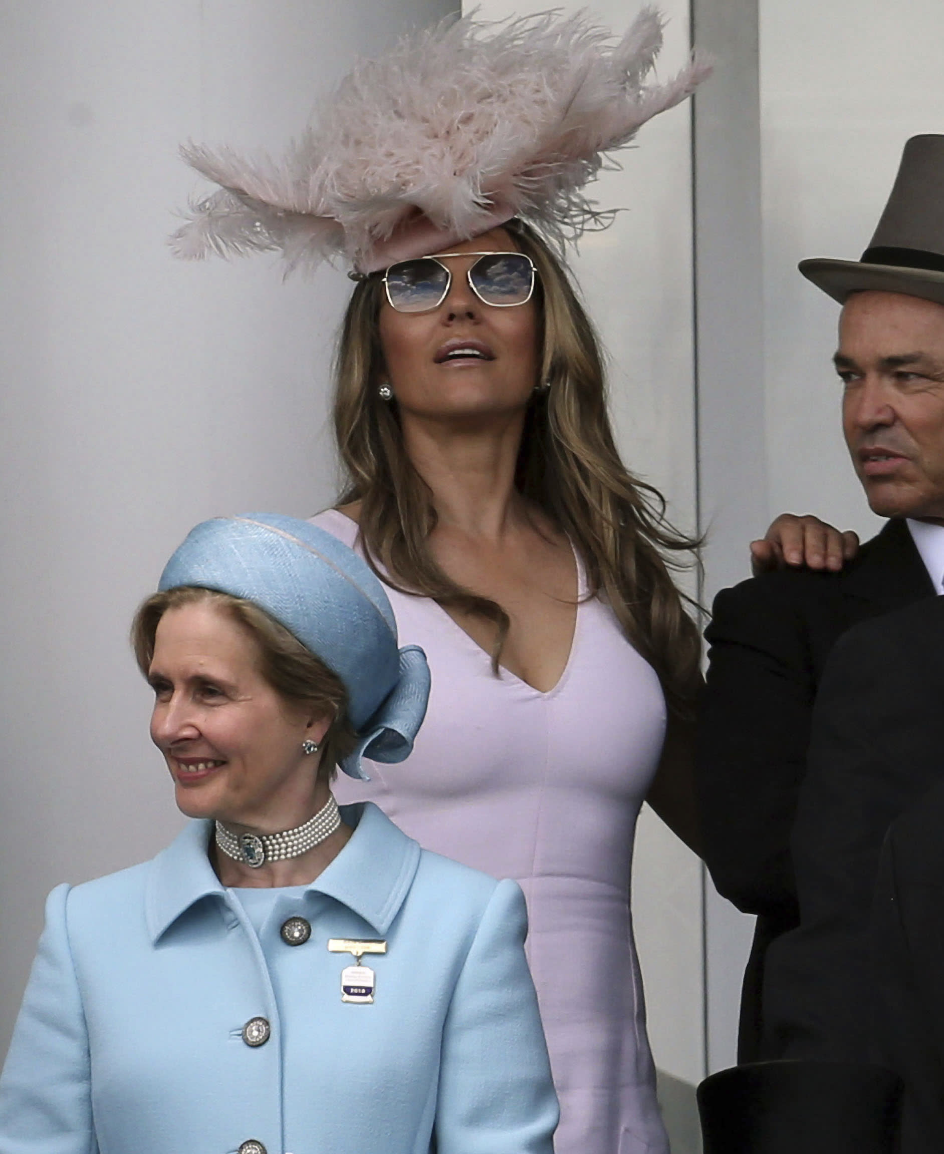 Photo by: zz/KGC-22/STAR MAX/IPx 2018 6/2/18 Elizabeth Hurley at the Investec Epsom Derby at the Epsom Downs Racecourse. (Epsom, Surrey, England, UK)
