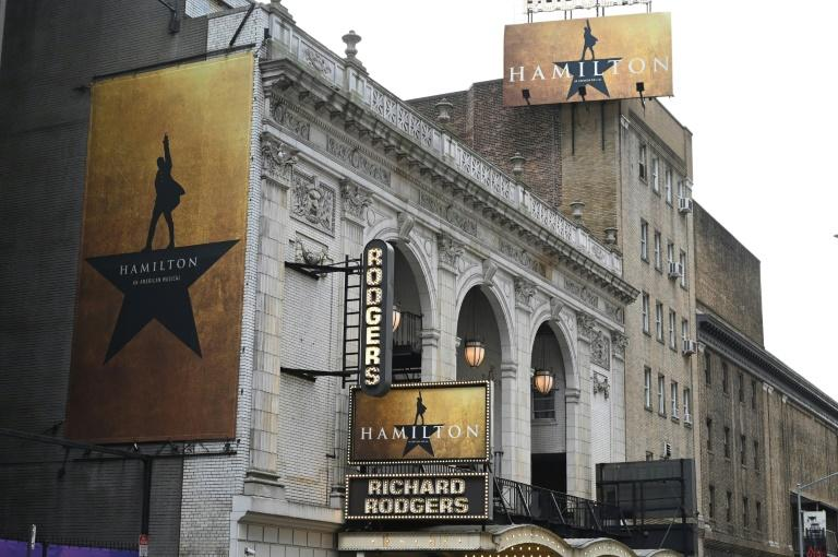 'Hamilton' advertisements hang outside the Richard Rodgers Theatre in June 2019 (AFP Photo/TIMOTHY A. CLARY)