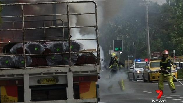 Truck catches fire in Blue Mountains