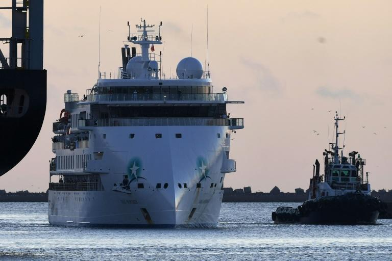 The COVID-19 coronavirus-stricken Australian liner Greg Mortimer in Montevideo's port