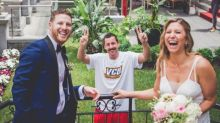 Adam Sandler and his mustache photobombed someone's wedding pictures