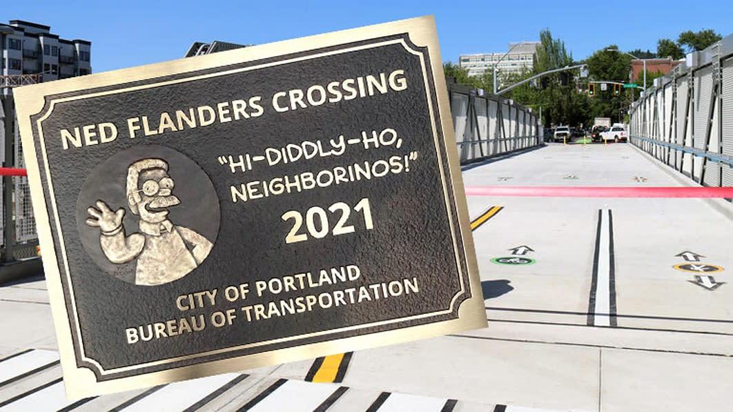 Portland unveils new Ned Flanders Crossing bridge. Yes, that Ned Flanders.