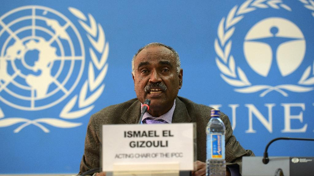The IPCC's new acting chair Ismail El Gizouli speaks during a press conference in Nairobi on February 27, 2015 (AFP Photo/Simon Maina)
