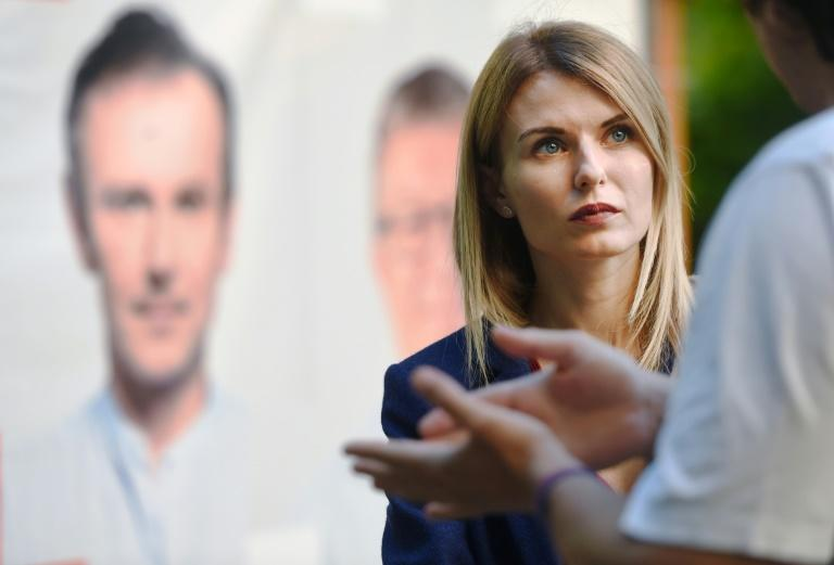 Lesya Vasylenko, lawyer, human rights activistand candidate of Ukrainian party Golos (Voice), headed by the Ukrainian rock star Svyatoslav Vakarchuk, talks with voters during a campaign meeting, ahead of the country's July 21 parliamentary election, in Kiev on July 16, 2019. Ukrainians elected Zelensky, a comedian with no political experience in April and parliamentary polls look likely to follow the same trend: out of the five parties leading in opinion polls, two are newly created: Golos and Zelensky's own party Servant of the People. The average age of their candidates is 37 and no one has previously served as MPs