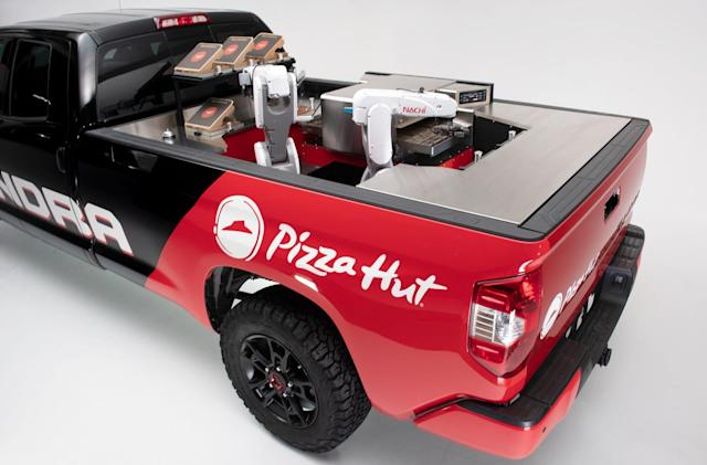 Pizza Hut's hydrogen delivery truck hauls a robotic kitchen