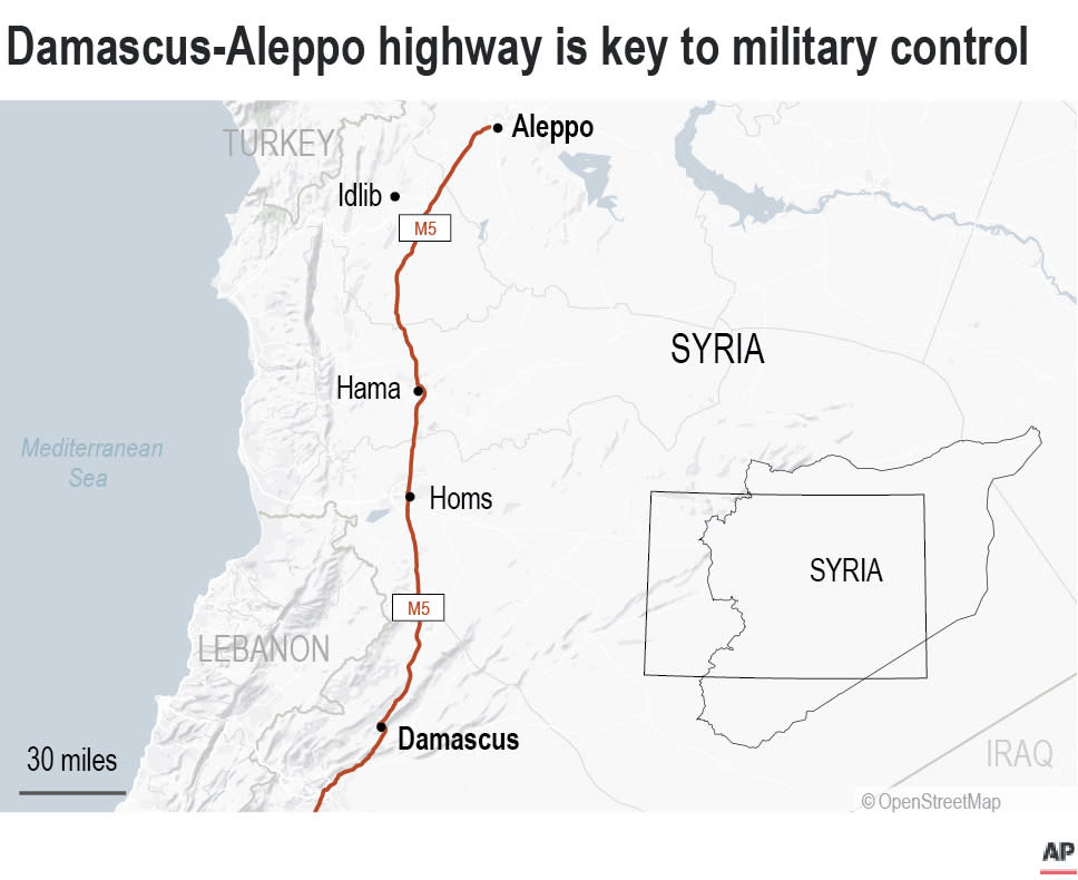 The Damascus-Aleppo highway, also known as the M5, was always key to who controls Syria.;