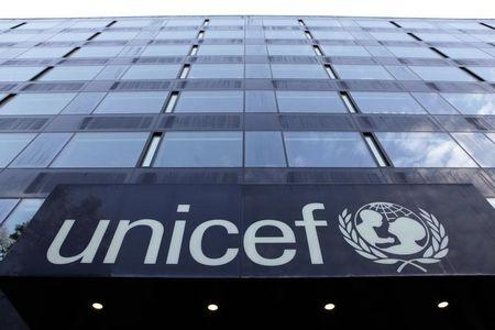 The UNICEF logo is pictured on a building in Geneva