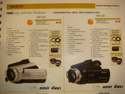 Sony's HDR-SR5, HDR-SR7, and HDR-CX7 1080i Handycams outed