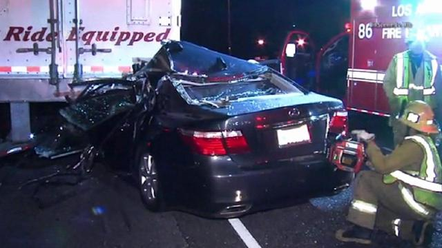 Lexus slams into big rig on 101 in Studio City
