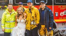 Firefighters' touching act for bride stranded on wedding day
