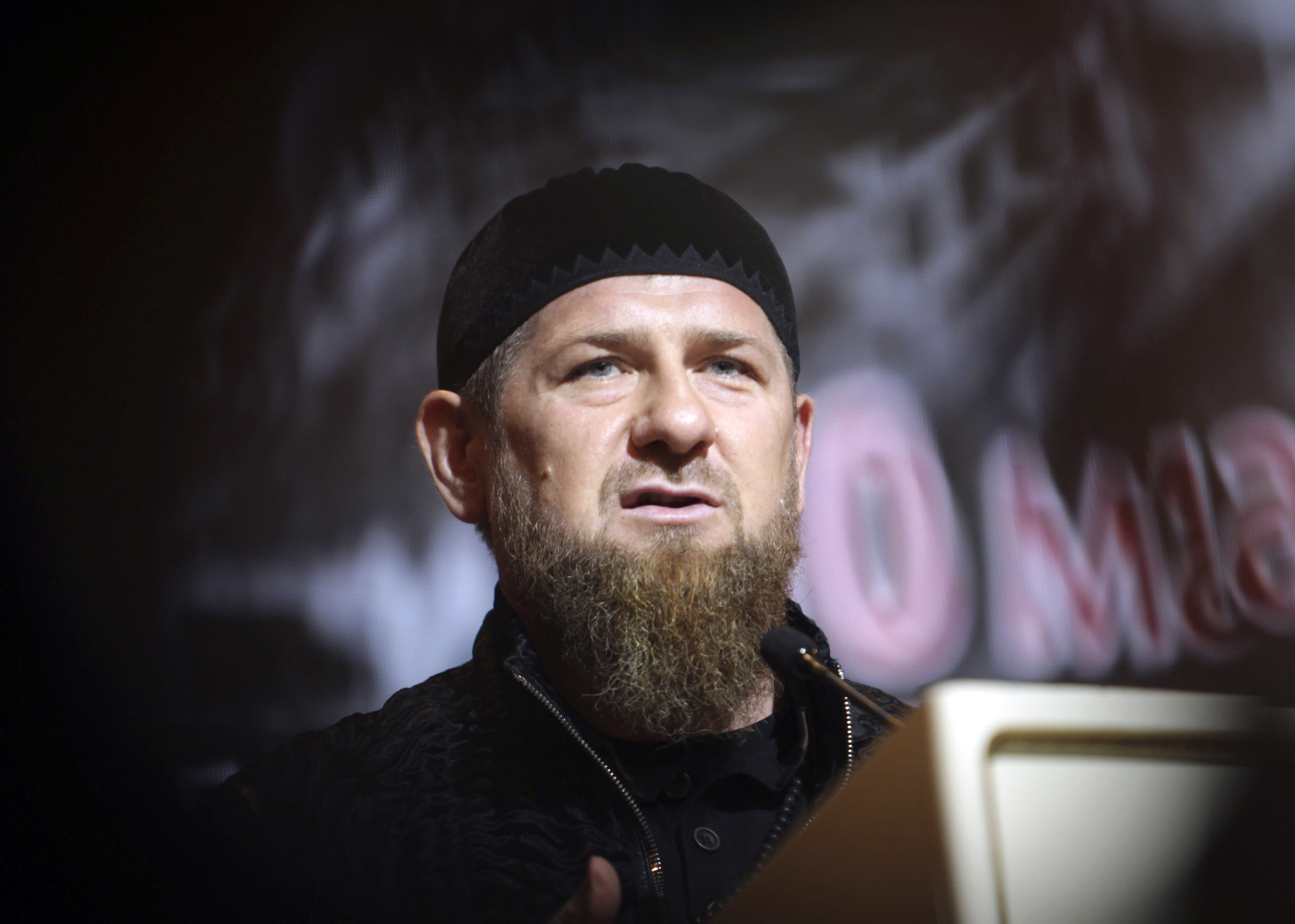 """FILE - In this Friday, May 10, 2019 file photo, Chechnya's regional leader Ramzan Kadyrov speaks during a meeting in Grozny, Russia. Ramzan Kadyrov claimed on his blog Thursday, July 9, 2020 that the ethnic Chechen who was shot dead in a Vienna suburb over the weekend fell victim to """"special services working against Russia and myself."""" He rejected the allegations of his involvement in the killing, saying that the killing in Vienna and earlier slayings of ethnic Chechens in Europe were performed by foreign secret agents to compromise him and tarnish Russia's image. (AP Photo/Musa Sadulayev, file)"""
