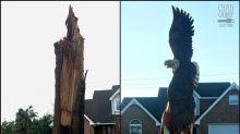 Un huracán destroza su árbol y él lo convierte en una obra de arte patriótica