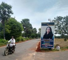 Banners and prayers for Kamala Harris in her ancestral Indian village