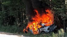 Ken Block's Ford Escort RS Cosworth lost in a fiery rally crash