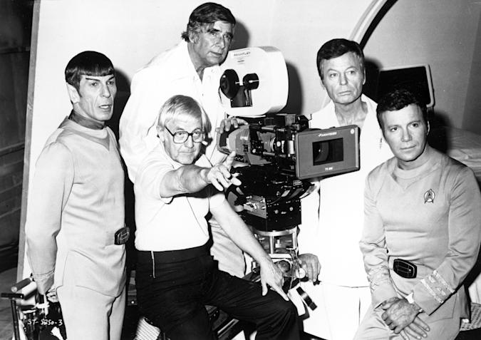 """DECEMBER 7:  Actors Leonard Nimoy, DeForest Kelley and William Shatner pose for a portrait with writer Gene Roddenberry and  director Robert Wise during the filming of the movie """"Star Trek: The Motion Picture"""" which was released December 27, 1979 in the United States. (Photo by Michael Ochs Archives/Getty Images)"""