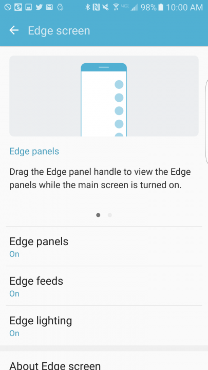 Edge settings menu