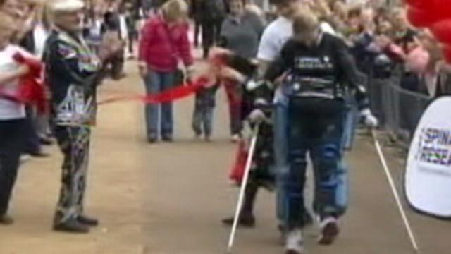 Woman in Bionic Suit Runs Marathon