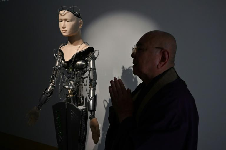 Developed at a cost of almost $1m in a joint project between the Zen temple and renowned robotics professor Hiroshi Ishiguro at Osaka University, the humanoid -- called Mindar -- teaches about compassion and of the dangers of desire, anger and ego (AFP Photo/CHARLY TRIBALLEAU)