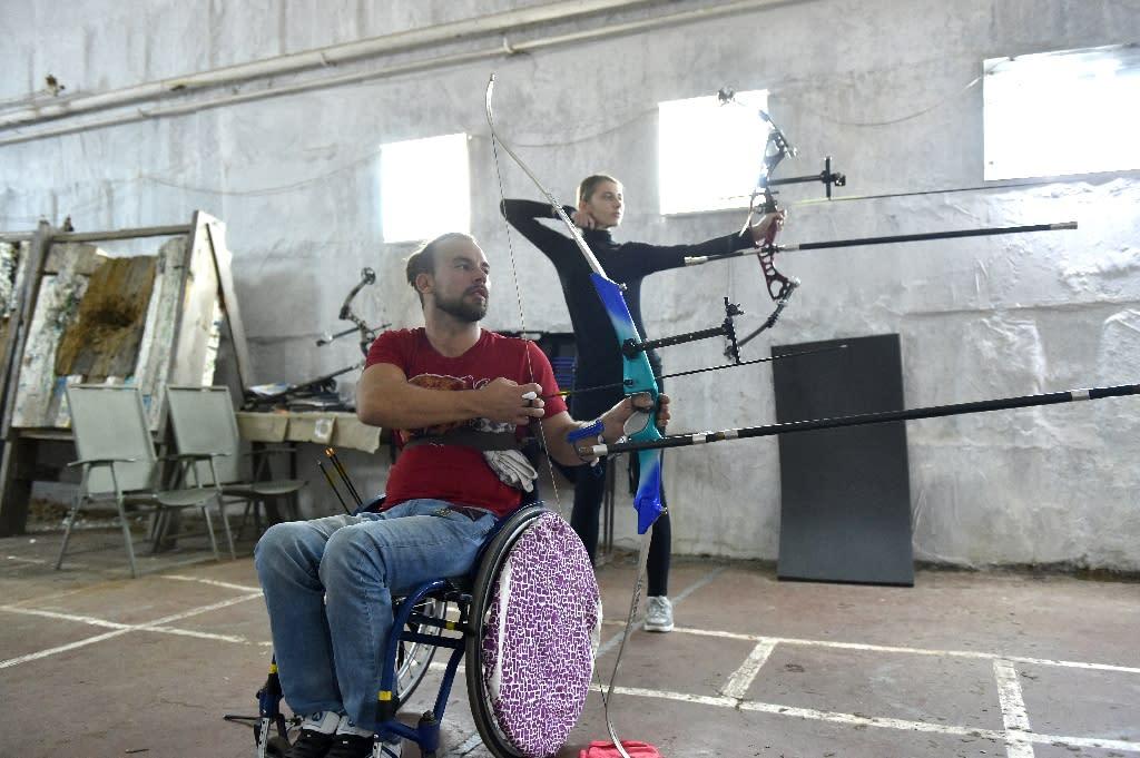 Ukrainian Paralympics archer Dmytro Schebetyuk, takes part in a training session in Kiev (AFP Photo/Sergei Supinsky)