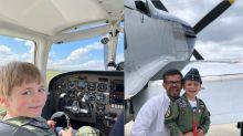 Dad overcomes fear of flying to help son, 7, 'become a pilot' after mum's death