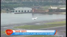 Harry and Meghan's plane departs for Dubbo