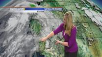 Monday: still warm but with rain on the way