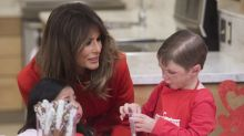 Melania Trump was feeling the love on Valentine's Day in $2,995 Calvin Klein look