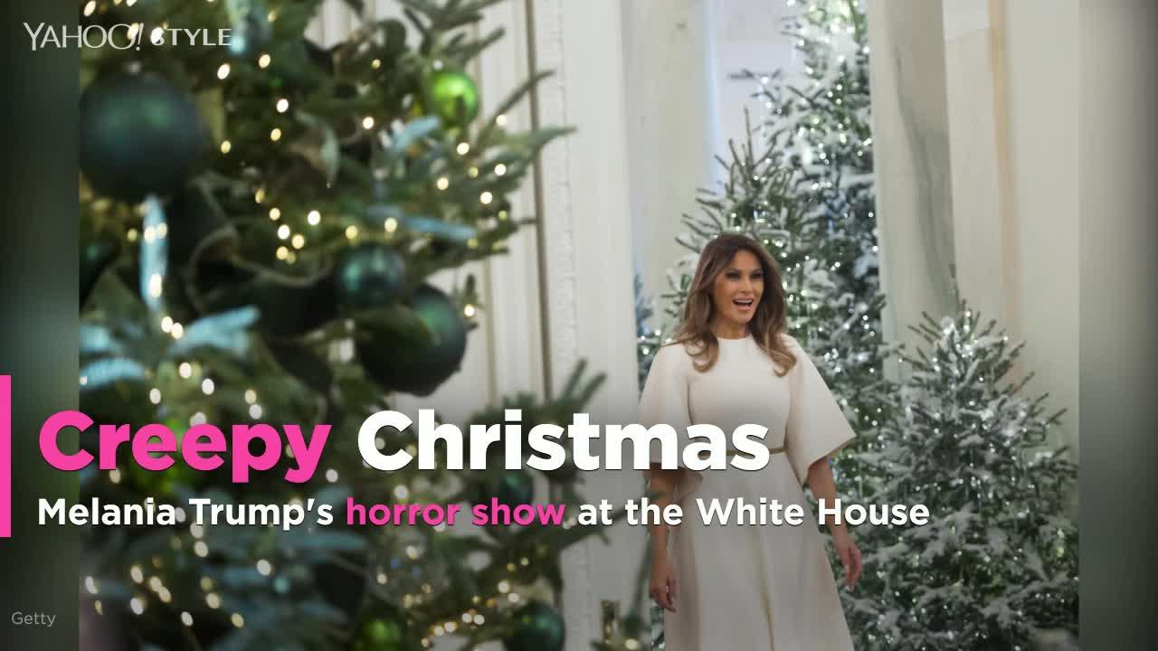 melania trump mocked for creepy white house christmas decorations video
