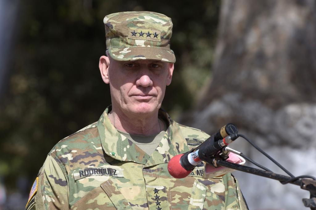 US General David Rodriguez looks on as he delivers a speech during the closing ceremony of the three-week joint military exercise between African, US and European troops, on February 29, 2016 in Saint Louis Senegal (AFP Photo/Seyllou)