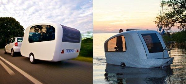 Sealander amphibious trailer lets you (kinda) rough it on the water (video)