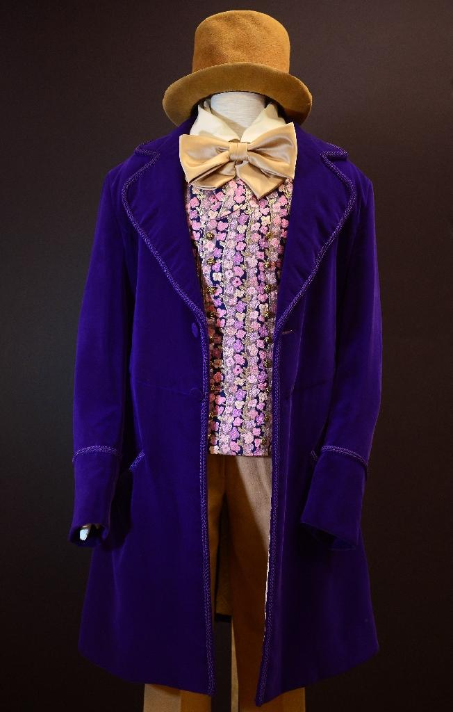 """Gene Wilder's signature costume from the film """"Willy Wonka and the Chocolate Factory"""" on display in 2012 (AFP Photo/Frederic J. Brown)"""