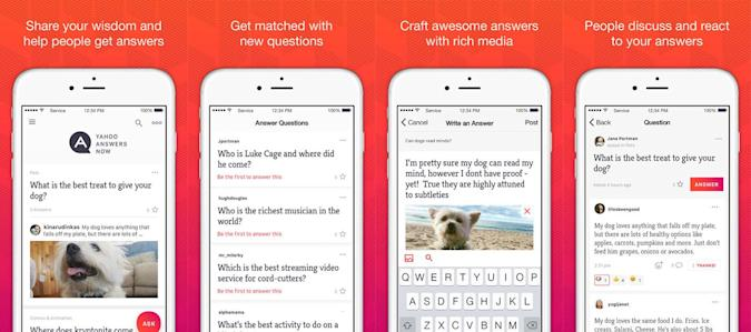 Yahoo Answers Now is a standalone app for iOS