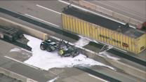 RAW: Semi flips over median on Tri-State Tollway near Rt. 173