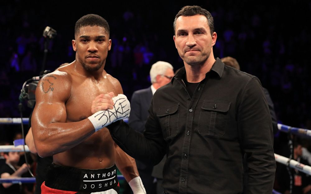 Wladimir Klitschko shakes hands with Anthony Joshua - Getty Images Sport