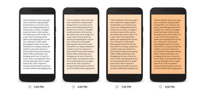 Google Play Books new blue light filter reduces eye strain