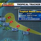 Tropical Storm Jerry expected to reach hurricane strength in Atlantic Ocean