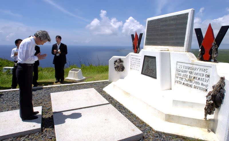 FILE PHOTO: Japan's PM Koizumi pays tribute to those who died in World War Two during ceremony in Iwo Jima