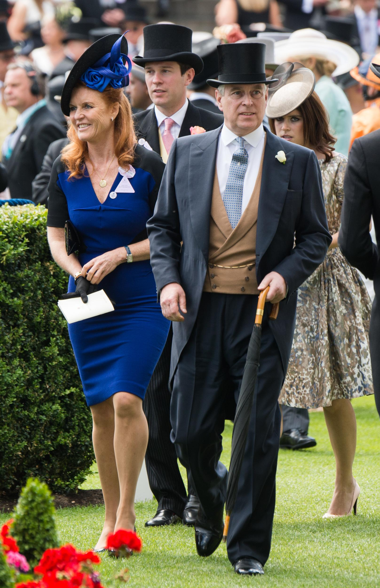 Sarah Ferguson, Jack Brooksbank, Prince Andrew, Duke of York and Princess Eugenie attend Day 4 of  Royal Ascot on June 19, 2015.
