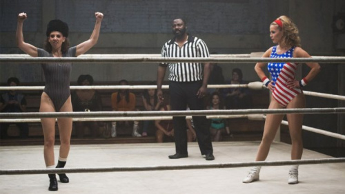 Alison Brie, left, in 'GLOW' (Photo Credit: Netflix)