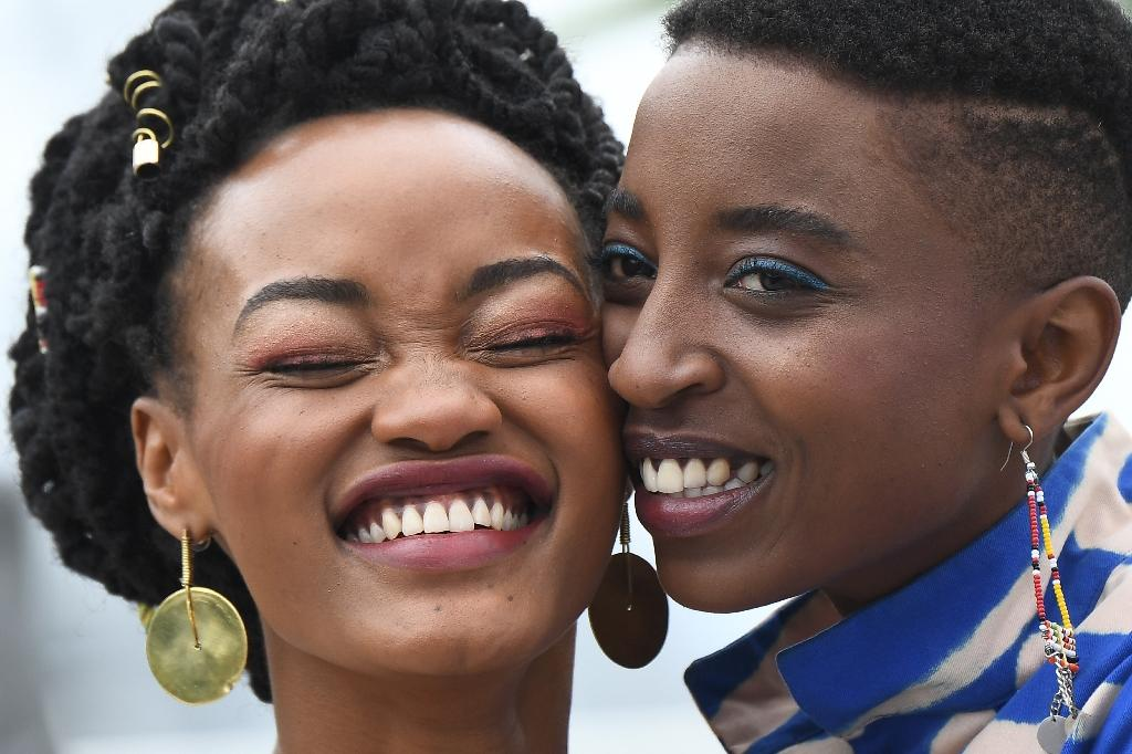 """Kenyan actresses Sheila Munyiva, left, and Samantha Mugatsia, right, who star in the film """"Rafiki"""" appeared together at the Cannes film festival"""