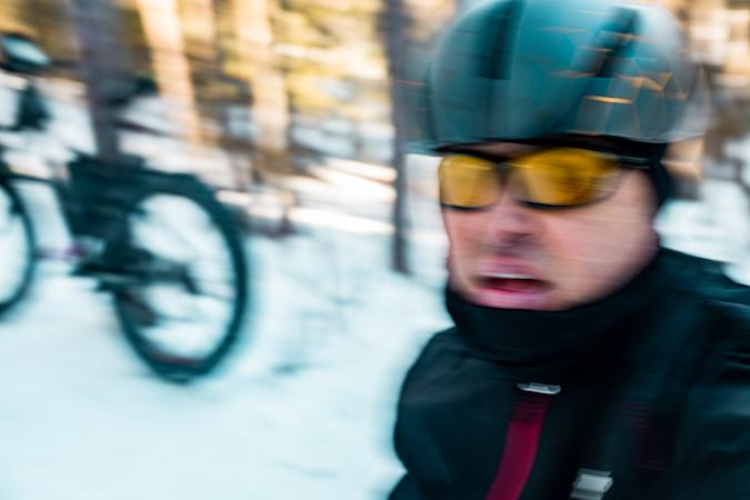 Selfie of Mature man fat biking in winter. Outdoor winter exterior in nature.