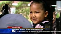 """Police bring """"get well"""" gifts to girl recovering from pit bull attack"""