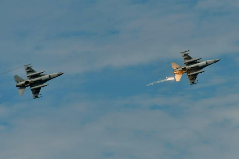 Old-model F-16s in a military drill in Taiwan in May 2019