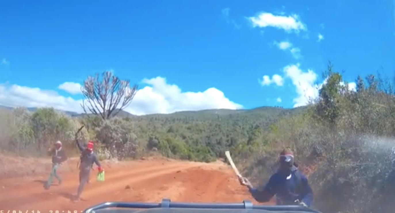 Terrifying moment bandits rush toward car on remote road