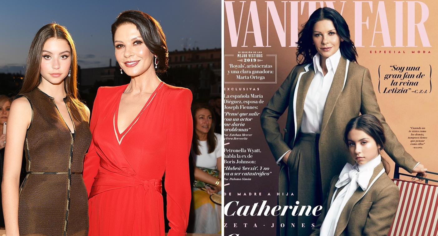 Catherine Zeta-Jones and lookalike teenage daughter pose for Vanity Fair cover