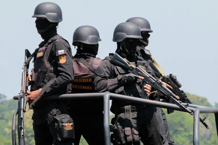 Members of Venezuela's armed forces take part in a military exercise at Garcia Hevia airport in La Fria, Tachira state